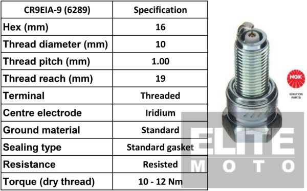 NGK CR9EIA-9 Iridium Spark Plugs (6289)